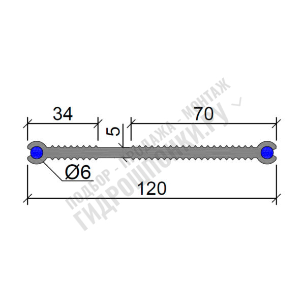 Гидрошпонка-Аквастоп-ХВН-120-(2х6)-ПВХ